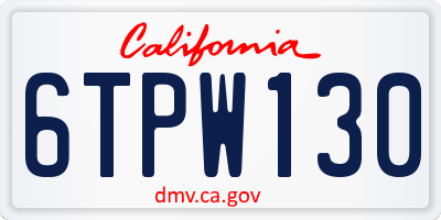 CA license plate 6TPW130