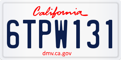 CA license plate 6TPW131