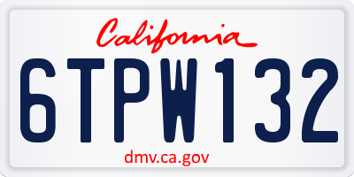 CA license plate 6TPW132