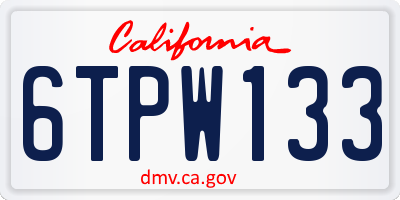 CA license plate 6TPW133