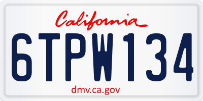 CA license plate 6TPW134