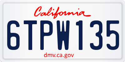 CA license plate 6TPW135