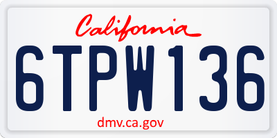 CA license plate 6TPW136