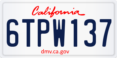 CA license plate 6TPW137