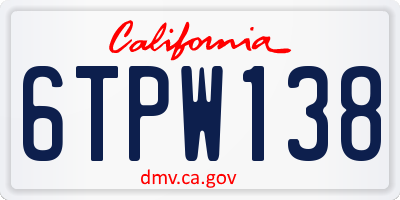 CA license plate 6TPW138