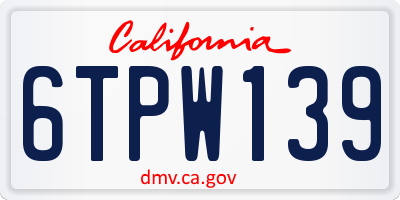 CA license plate 6TPW139