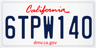 CA license plate 6TPW140