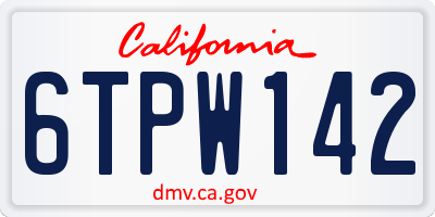 CA license plate 6TPW142