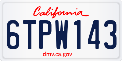 CA license plate 6TPW143