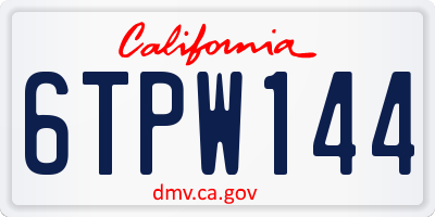 CA license plate 6TPW144