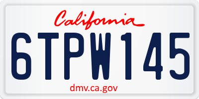 CA license plate 6TPW145