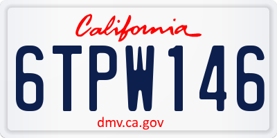 CA license plate 6TPW146