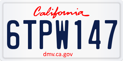 CA license plate 6TPW147