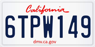 CA license plate 6TPW149