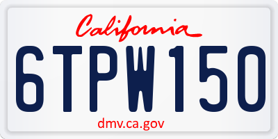 CA license plate 6TPW150