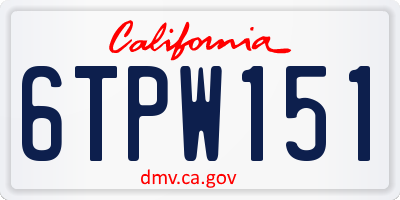 CA license plate 6TPW151