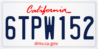 CA license plate 6TPW152