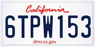 CA license plate 6TPW153