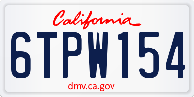 CA license plate 6TPW154
