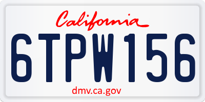 CA license plate 6TPW156
