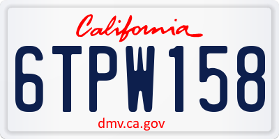 CA license plate 6TPW158
