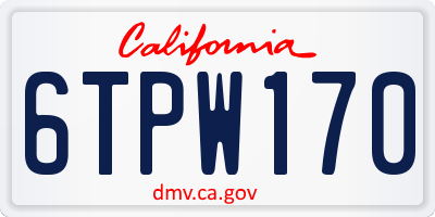 CA license plate 6TPW170