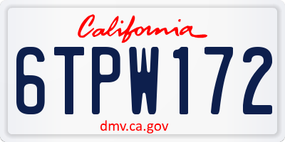 CA license plate 6TPW172