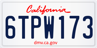 CA license plate 6TPW173