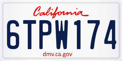 CA license plate 6TPW174