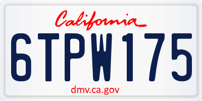 CA license plate 6TPW175