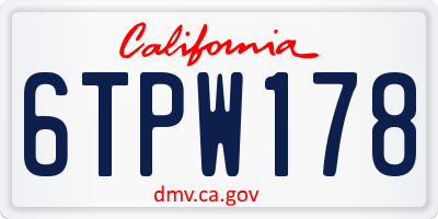 CA license plate 6TPW178