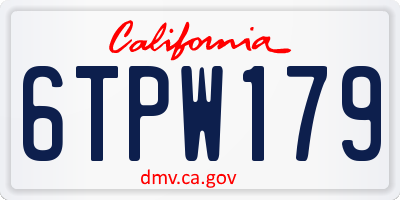 CA license plate 6TPW179