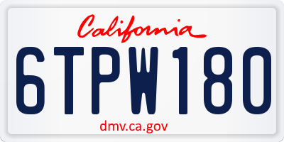 CA license plate 6TPW180