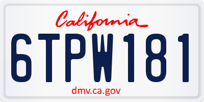 CA license plate 6TPW181
