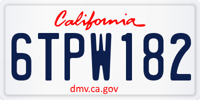 CA license plate 6TPW182