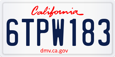 CA license plate 6TPW183