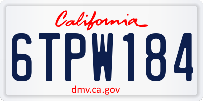 CA license plate 6TPW184