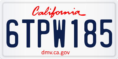 CA license plate 6TPW185