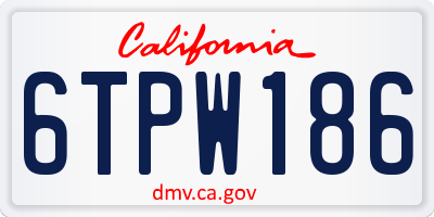 CA license plate 6TPW186