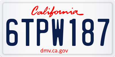 CA license plate 6TPW187