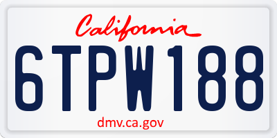CA license plate 6TPW188