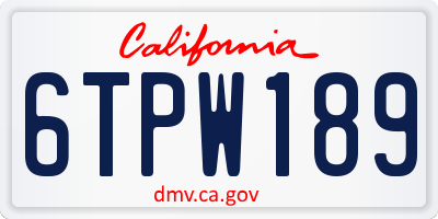 CA license plate 6TPW189