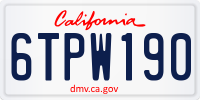 CA license plate 6TPW190