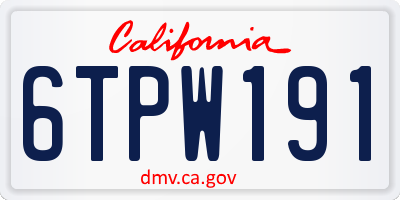 CA license plate 6TPW191