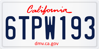 CA license plate 6TPW193
