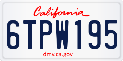 CA license plate 6TPW195