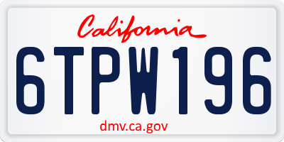 CA license plate 6TPW196