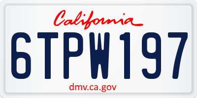 CA license plate 6TPW197