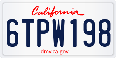 CA license plate 6TPW198