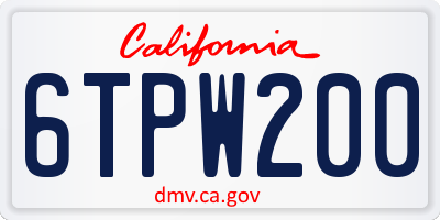 CA license plate 6TPW200